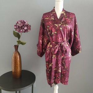 Vintage Robe Satin Floral Purple 90s Dressing M